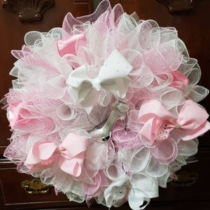 "22"" Pink White Girl High Heel Mesh Wreath"